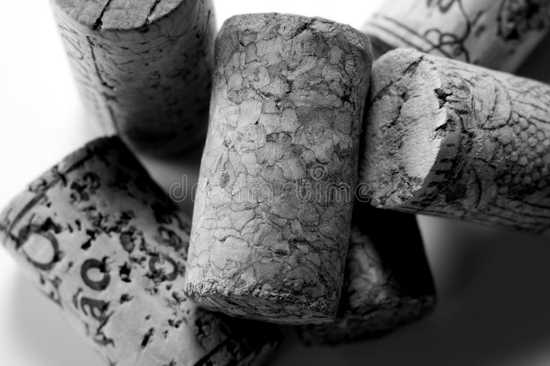 Wine Corks. Old looking pile of wine corks in black and white