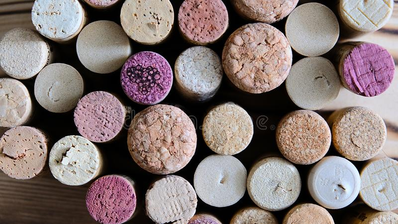 Wine corks background overhead, top view royalty free stock photography