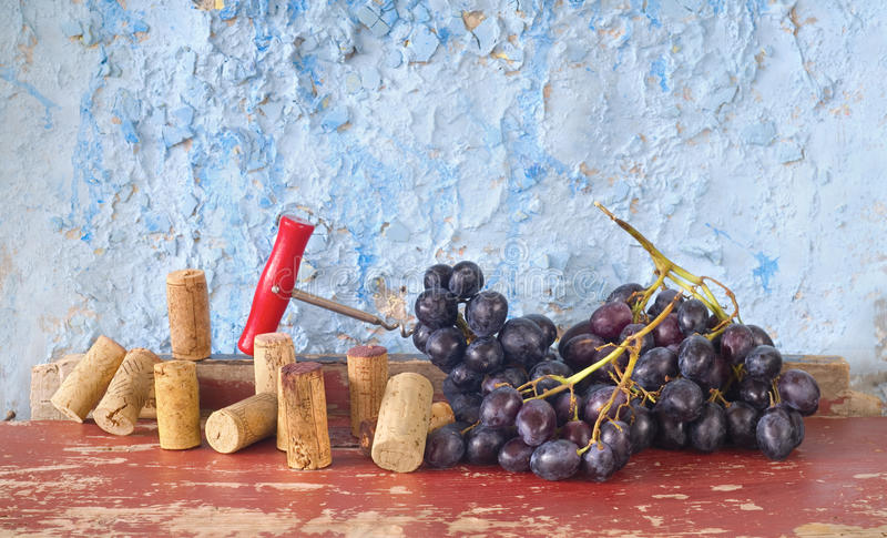 Wine corks, bunch of grapes royalty free stock photo