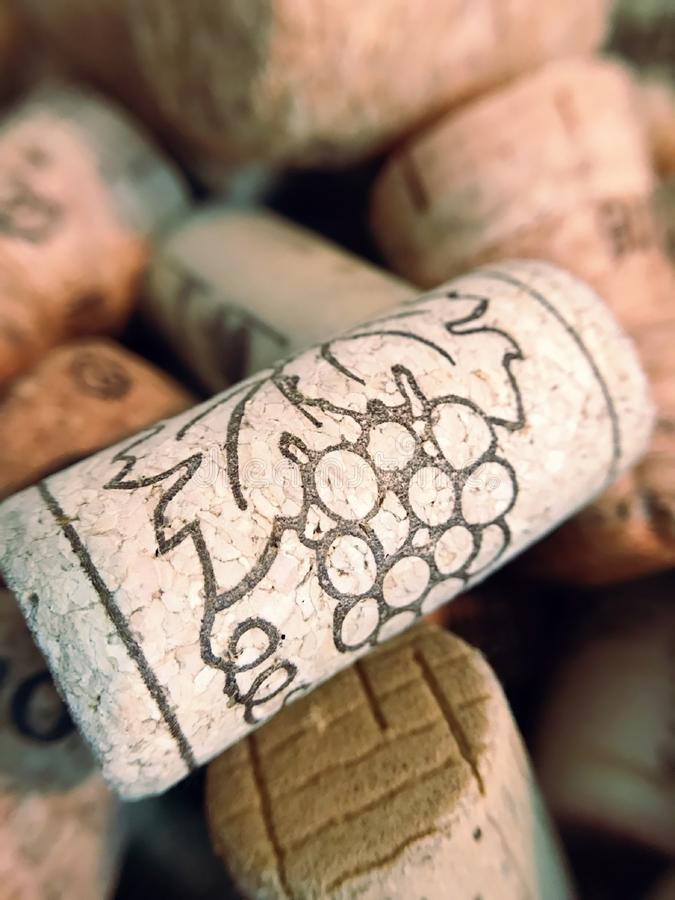Wine corks close up. Wine cork with grape drawings stock images