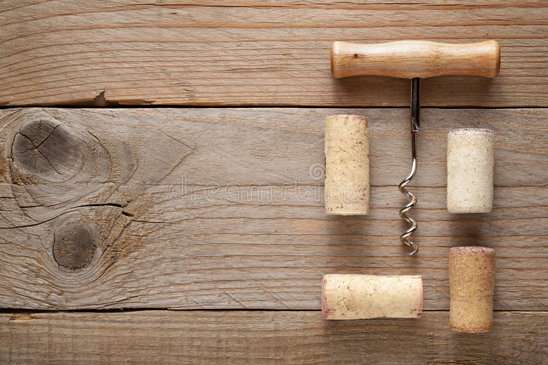 Wine corks and corkscrew royalty free stock photography