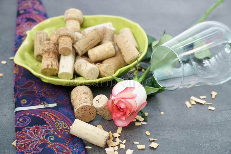 Wine Corks and empty glass on concrete table. royalty free stock images