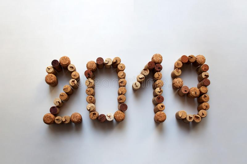 Wine corks 2019 numbers on white background royalty free stock photos