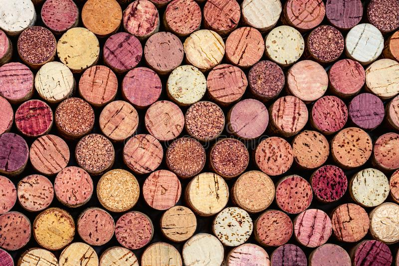 Wine corks Pattern. Various wooden wine corks  as a Background. Food and drink concept royalty free stock photography