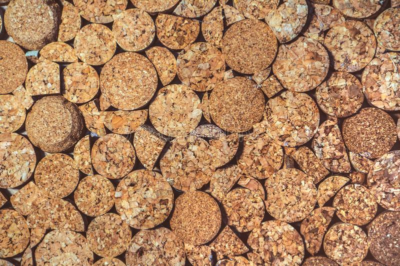 Wine corks texture background. Corkwood stoppers close-up.  stock photography