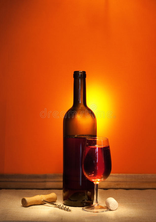Wine and corkscrew royalty free stock photos