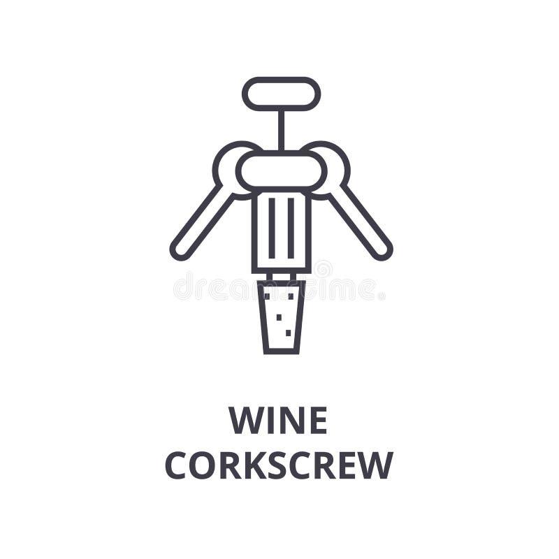 Wine corkscrew line icon, outline sign, linear symbol, vector, flat illustration vector illustration