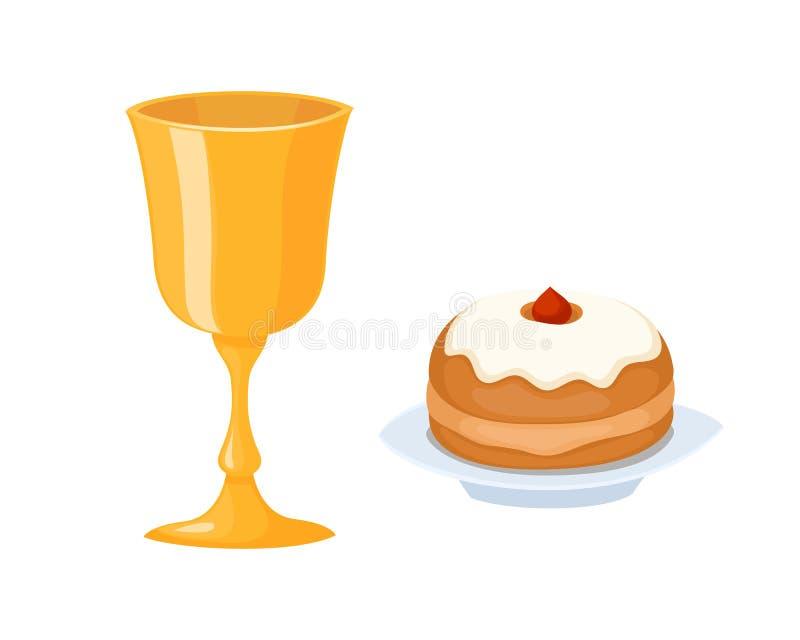 Wine cup used for jewish kiddush shabbat drink judaica metal symbol and kiddush food hebrew decorative festival sparkle royalty free illustration