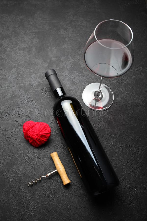 Wine Decor for Valentine`s Day, natural red wine stock photos