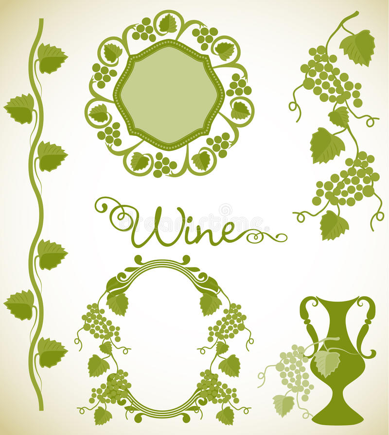 Wine decorative elements stock illustration