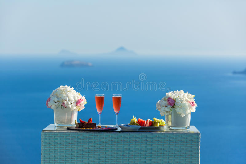 Wine and dessert for two royalty free stock images