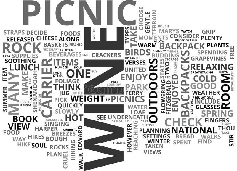 Wine And Dine With A View Enjoy The Weather With Picnics Walks And Fine Wine Word Cloud. WINE AND DINE WITH A VIEW ENJOY THE WEATHER WITH PICNICS WALKS AND FINE vector illustration