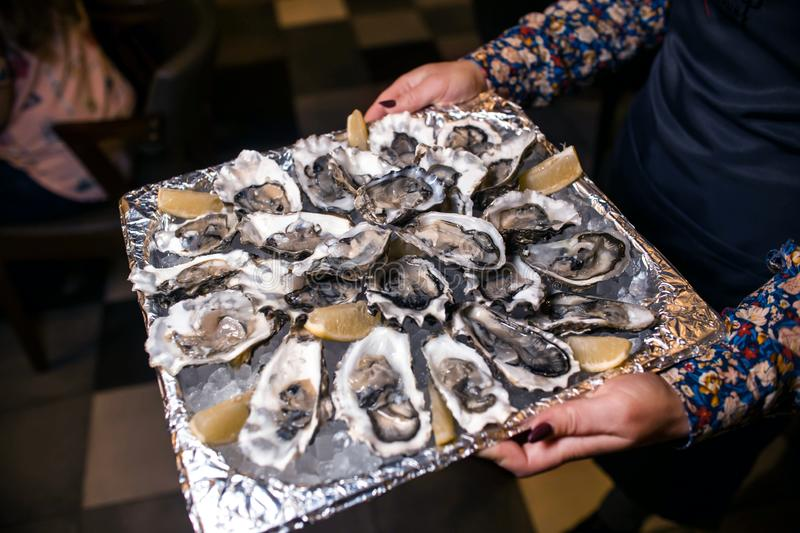 Wine dinner at the restaurant with oysters and seafood. Oysters and risotto gourmet cuisine. Mussels for dinner. Russia,. Sverdlovsk, 19 October 2018 royalty free stock photos