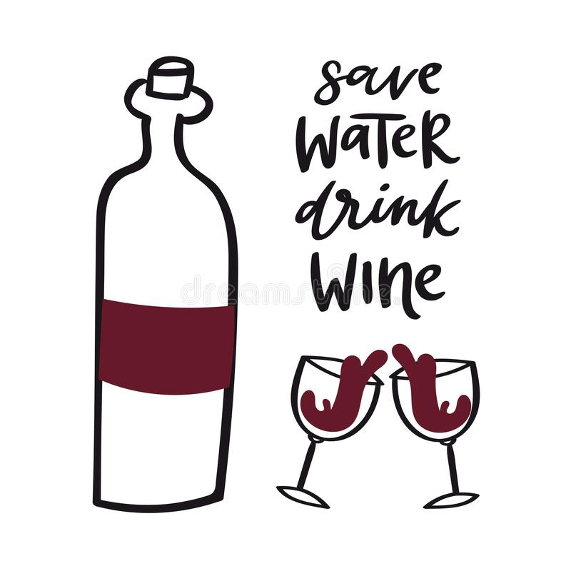 Free Wine Doodle Style Vector Illustration Including Bottle, Glasses With Wine-colored Liquid And Cork. Red Vino Doodle Stock Photography - 164055752