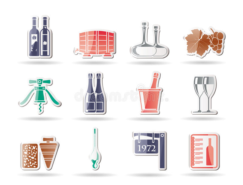 Download Wine and drink Icons stock vector. Image of illustration - 17687812