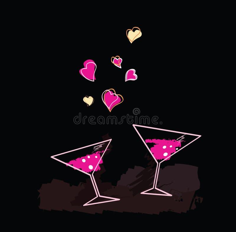 Wine evening. Romantic evening. Art Illustration of Wine glasses with hearts royalty free illustration