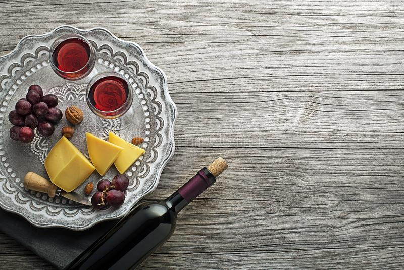Red Wine with food royalty free stock images