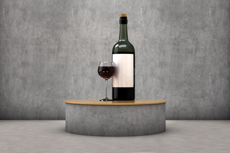 Wine exhibitor. A glass and a bottle of wine in a exhibitor vector illustration