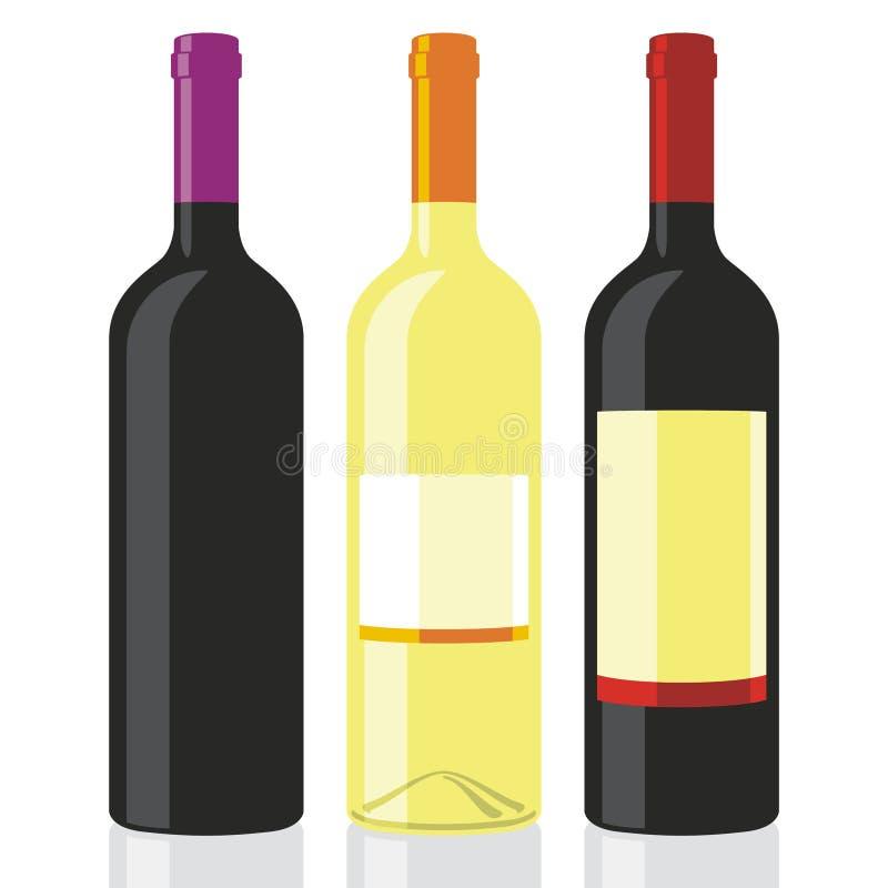 wine för 02 flaskor stock illustrationer