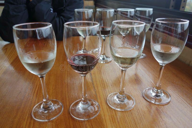 wine för bägarehandavsmakning royaltyfria foton