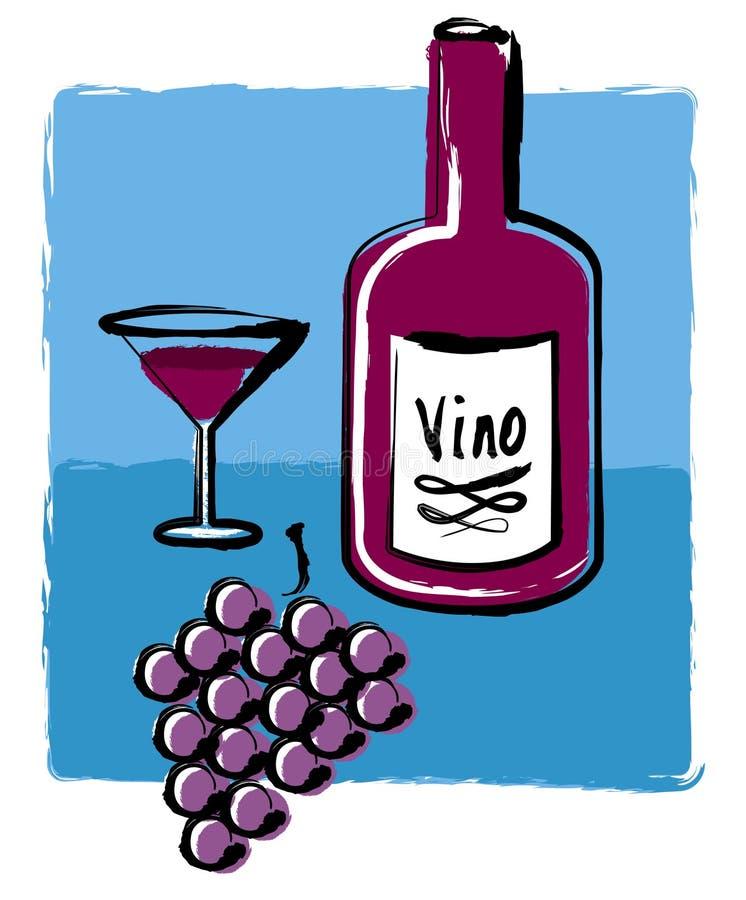 wine för druvor för flaskexponeringsglas royaltyfri illustrationer