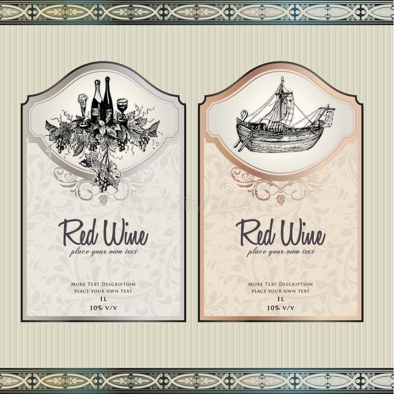 wine för etikettset royaltyfri illustrationer
