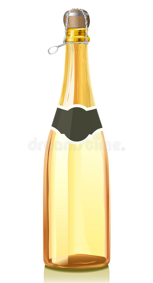 wine för guld för flaskchampagne glass stock illustrationer