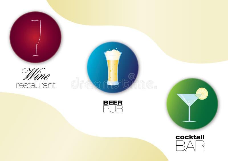 wine för restaurang för pub för symboler för stångölcoctail royaltyfri illustrationer