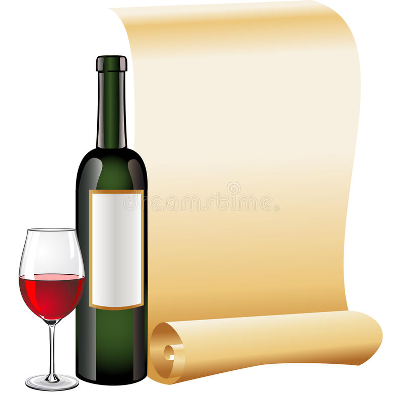 wine för scroll för flaskexponeringsglas gammal paper röd stock illustrationer