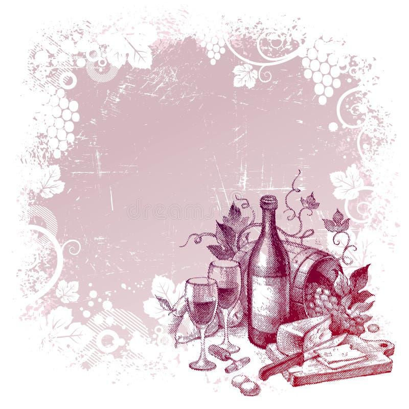 wine för tappning för bakgrundslivstid fortfarande stock illustrationer