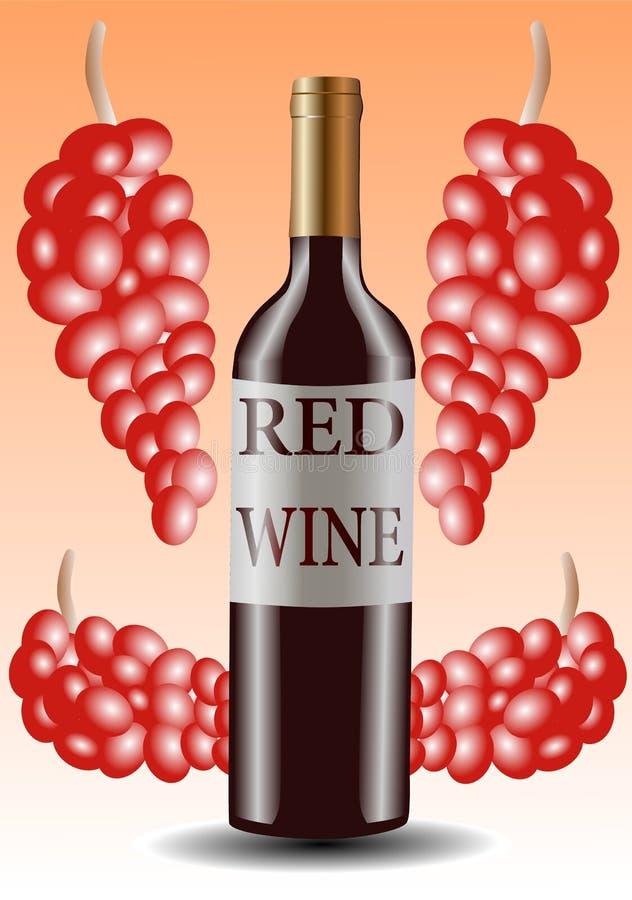 wine för vektor för flaskdruvaillustration röd stock illustrationer