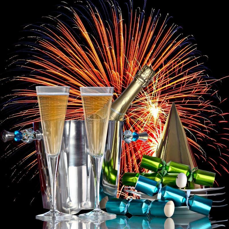 wine för fyrverkerier för berömchampagne festlig royaltyfri bild