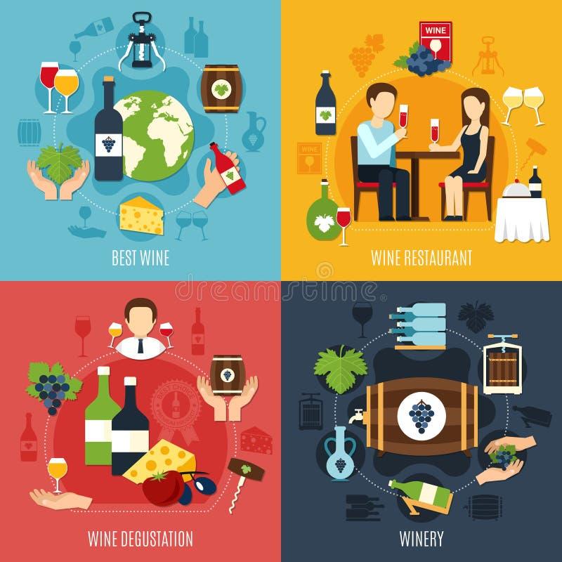 Wine Flat 2x2 Icons Set stock illustration