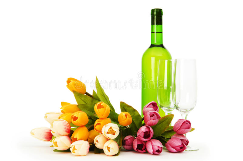 Download Wine and flowers stock photo. Image of silhouette, facer - 14856552
