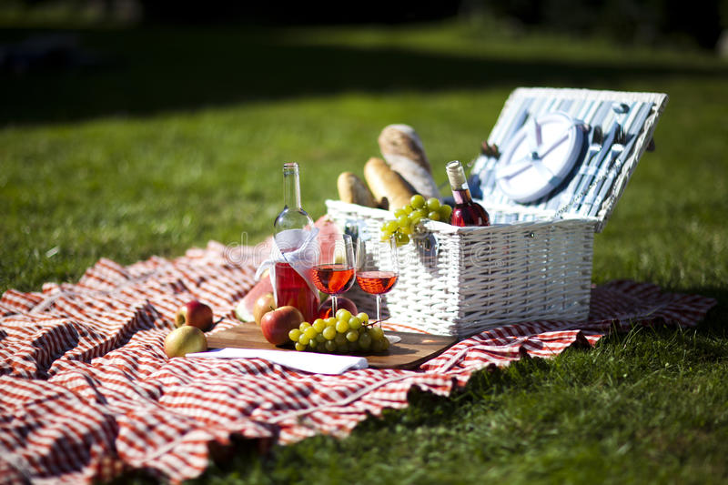 Wine and food. Fresh food from picninc basket on grass in the garden royalty free stock images