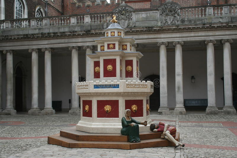 Wine Fountain, Base Court, Hampton Court Palace. Recreated Wine Fountain, Base Court, Hampton Court Palace, Tudor era, Surrey UK stock image
