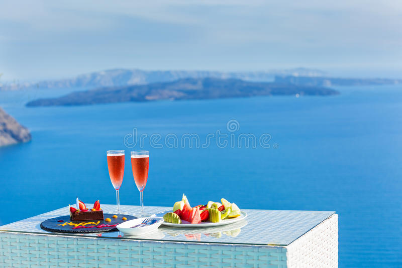 Wine and fruit for two stock photos