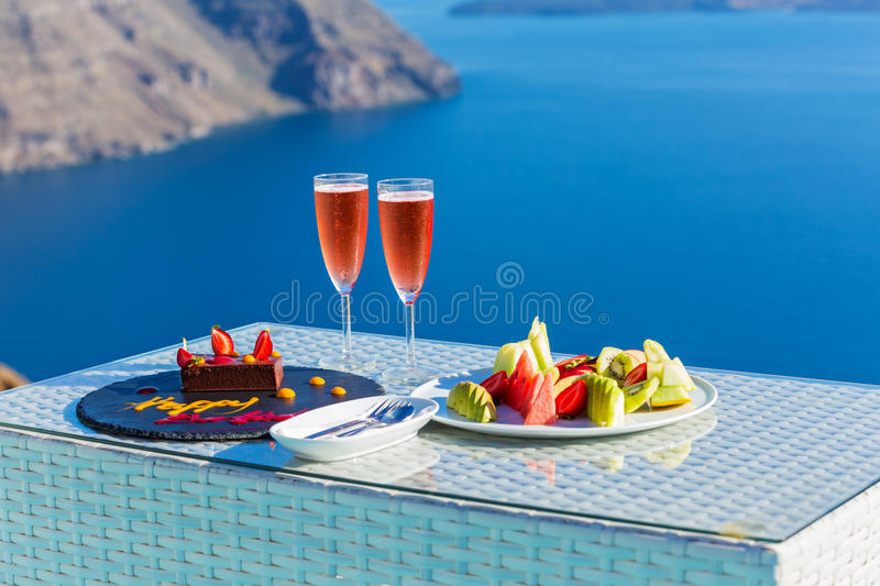 Wine and fruit for two royalty free stock photo