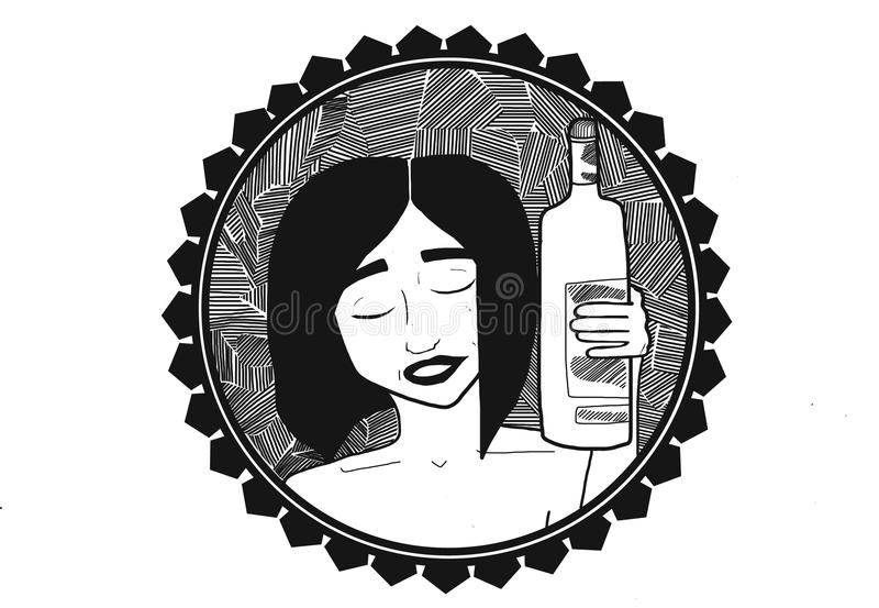 Wine girl royalty free stock photography