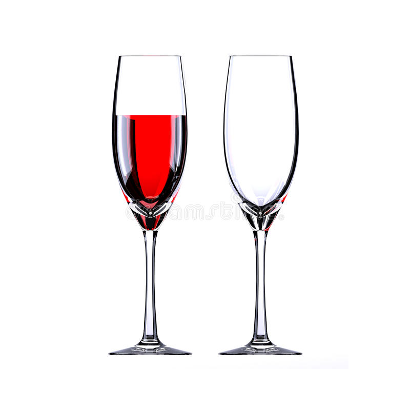 Wine glass. Red wine glass and empty glass vector illustration
