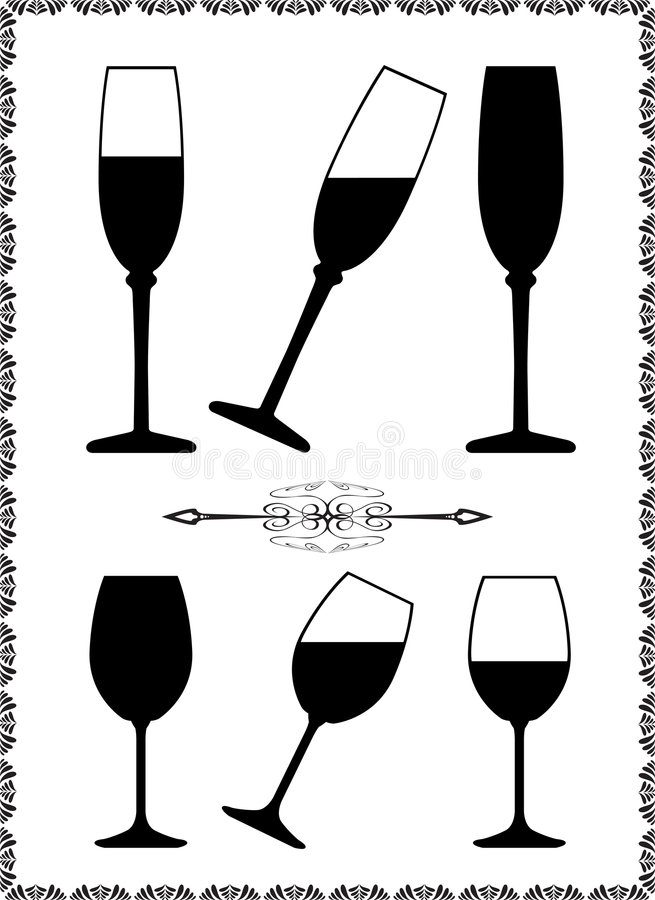 Wine glass. And decorative elements