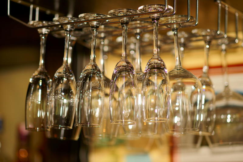 Wine glass in bar. Some wine glass in bar stock photography