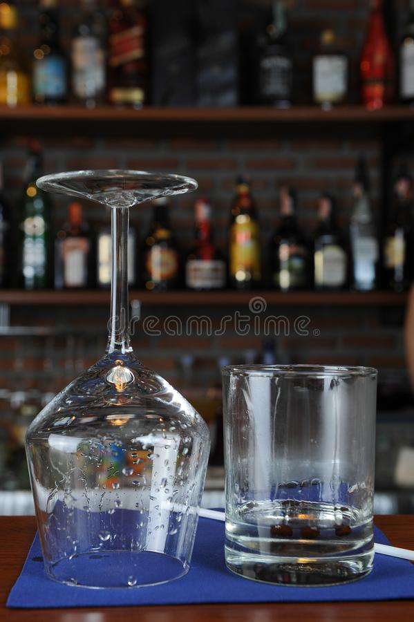 Wine glass in bar stock photography