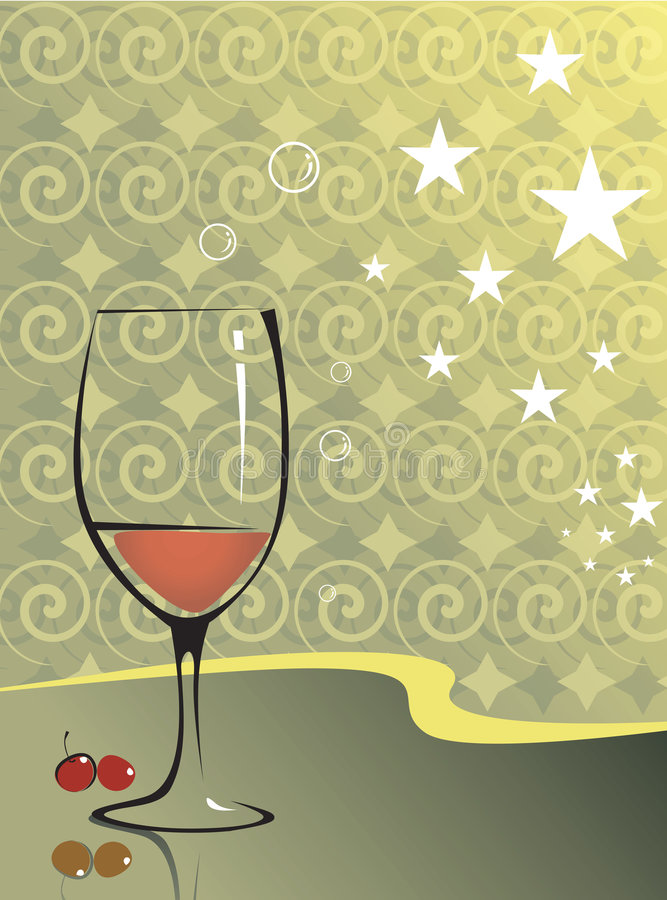 Wine glass and berries stock illustration