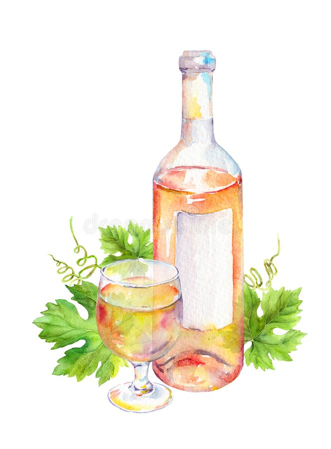 Wine glass, bottle with pink or white wine with vine leaves. Watercolor royalty free illustration