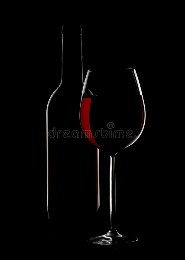 Wine Glass And Bottle Silhoutte Royalty Free Stock Images