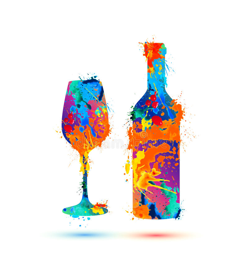 Wine glass and bottle. Vector splash paint royalty free illustration