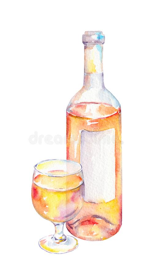 Wine glass, bottle with white wine. Watercolor stock illustration