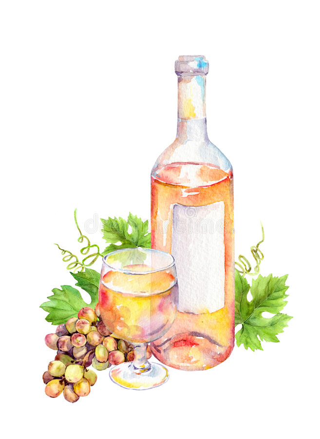 Wine glass, bottle of white wine with vine leaves and grape berries. Watercolor royalty free illustration