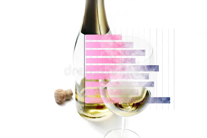 Wine glass and bottles with cork. Bar graph isolated in the concept of marketing strategy and business development. Wine glass and bottles with cork blurred royalty free stock images